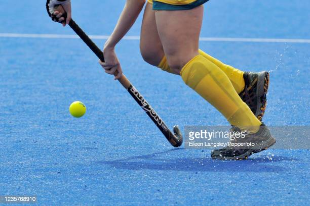 Close-up of an Australian player in action during the Pool B match between the United States and Australia in the women's Field Hockey tournament on...
