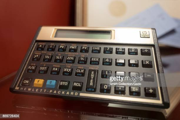 Closeup of an early Hewlett Packard digital pocket calculator model 12c on display in Silicon Valley Palo Alto California September 20 2017