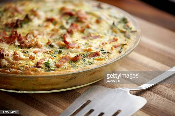 Close-up of an egg and bacon frittata