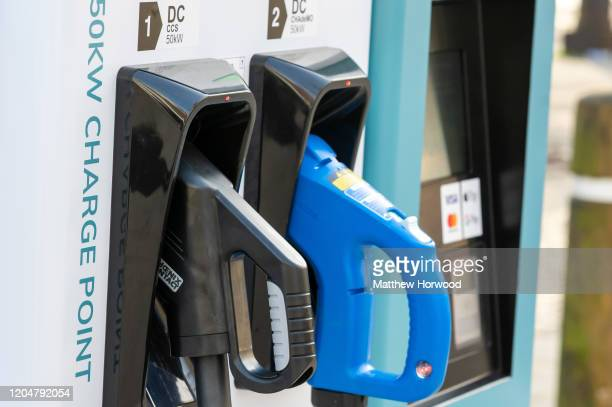 A closeup of an electric car charging station on February 7 2020 in Cardiff United Kingdom