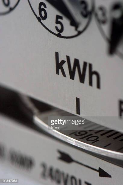 A close-up of an electric meter