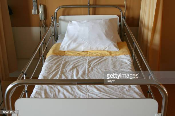 Close-up of  an empty hospital bed