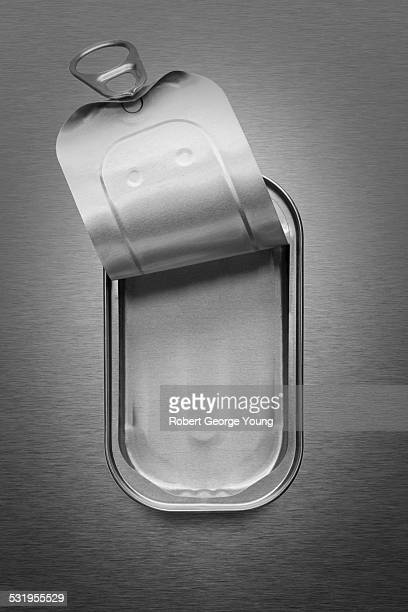 Close-up of an empty pull tab sardine can