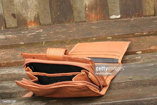 Close-up of an empty purse wallet on the floor
