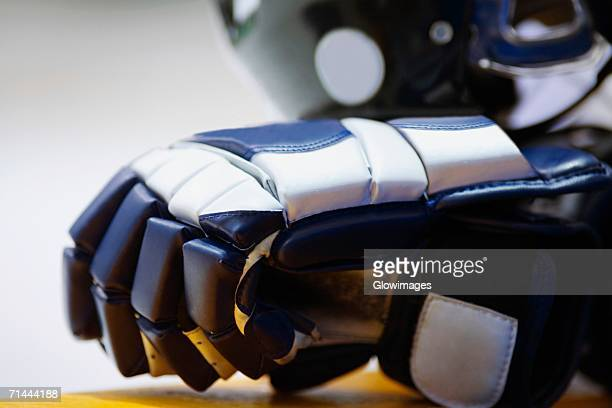 close-up of an ice hockey glove - sports glove stock pictures, royalty-free photos & images