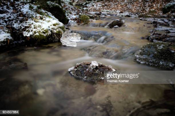 Closeup of an iced stream in winter in the Jasmund National Park on the island of Ruegen on February 07 2018 in Glowe Germany