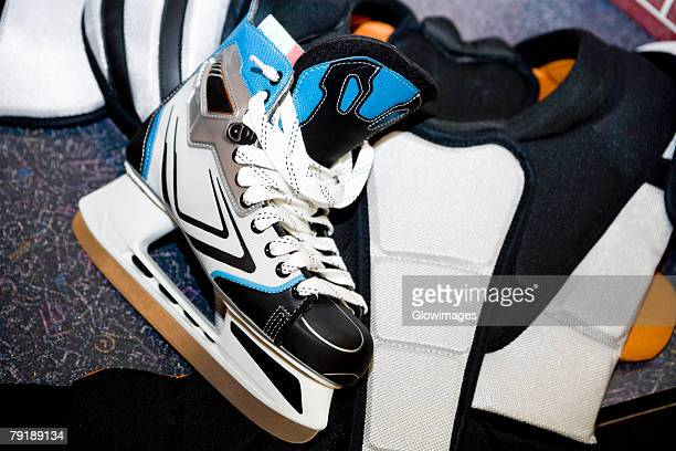 Close-up of an ice-skate with a chest protector