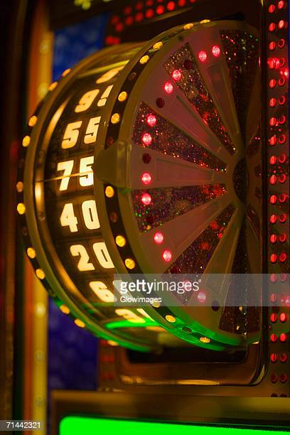 Close-up of an illuminated number wheel in a casino, Las Vegas, Nevada, USA