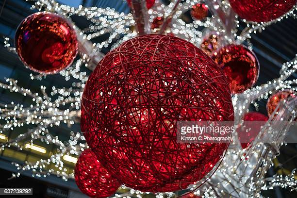 Close-Up Of An Illuminated Red Sphere Light Decoration