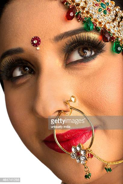 Close-up of an Indian bride in wearing nose ring