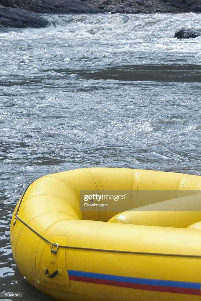 Close-up of an inflatable raft in a river : Stock Photo