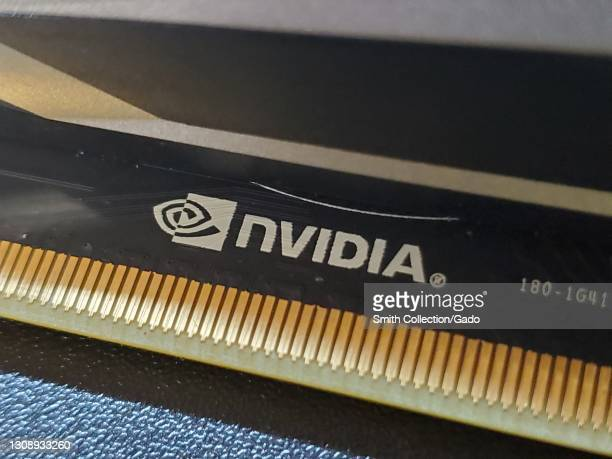 Close-up of an Nvidia logo on a computer component, photographed in Lafayette, California, March 22, 2021.