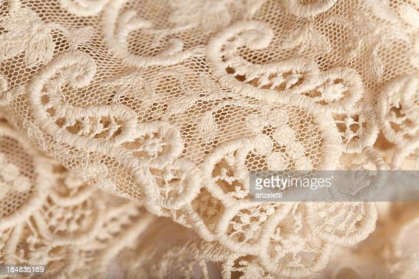 Close-up of an off white lace piece of material