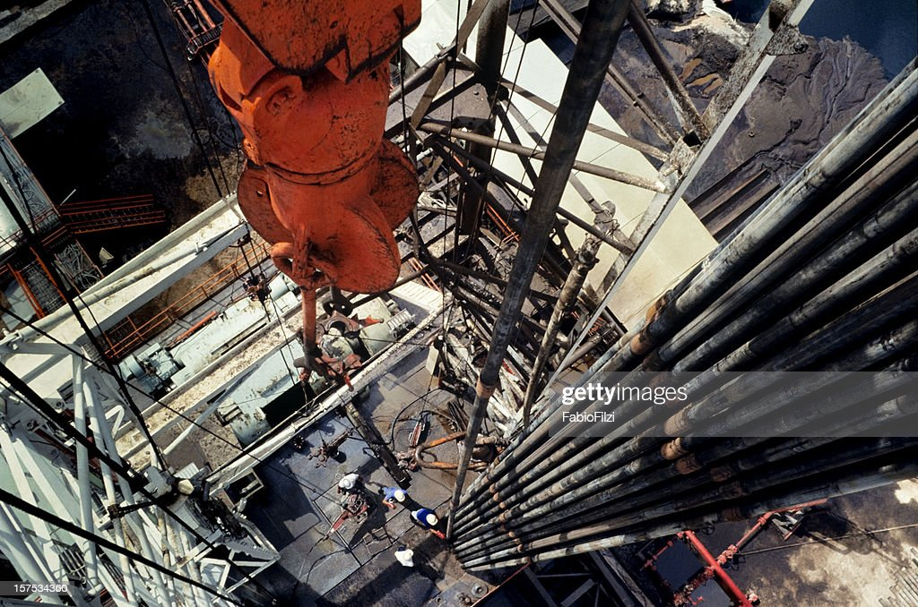 Close-up of an oil drill in the oil industry : Stock Photo