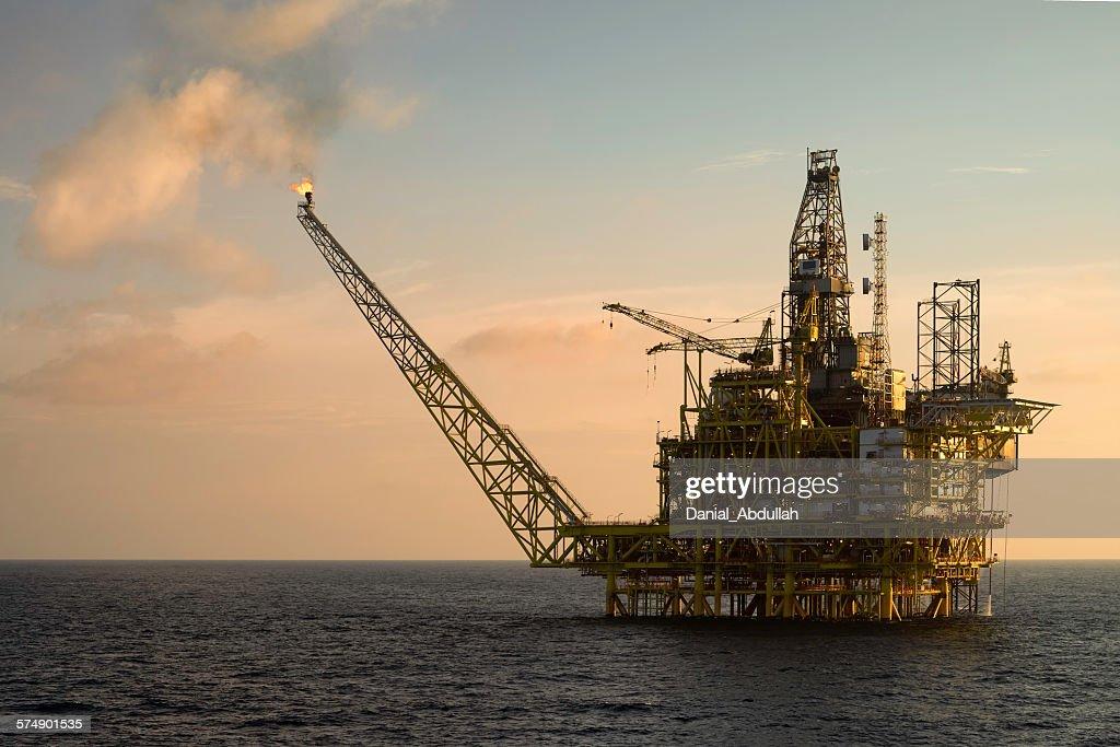 Close-up of an oil platform at sea : Stock Photo
