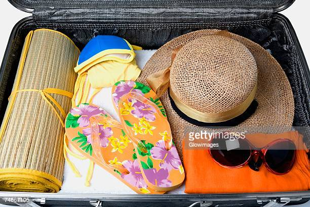 Close-up of an open suitcase