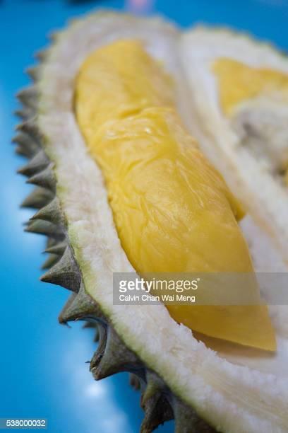 Close-Up of an opened premium 'Musang King' Durian