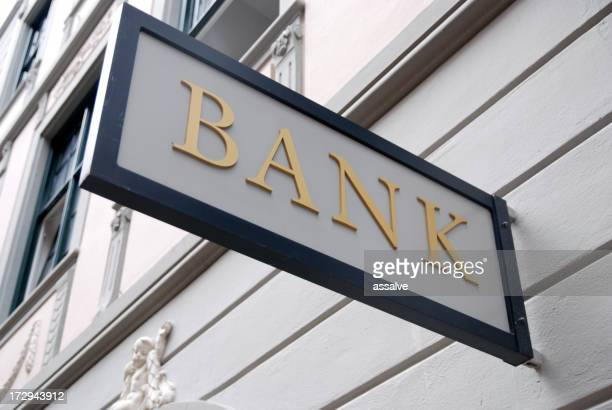 A close-up of an outdoor bank sign
