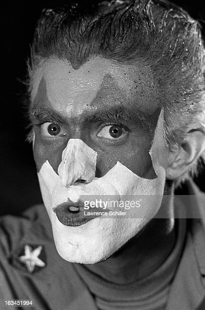 Closeup of an unidentified Merry Pranksters in face makeup while on an LSD 'trip' Los Angeles California 1966 The Merry Pranksters focused around...