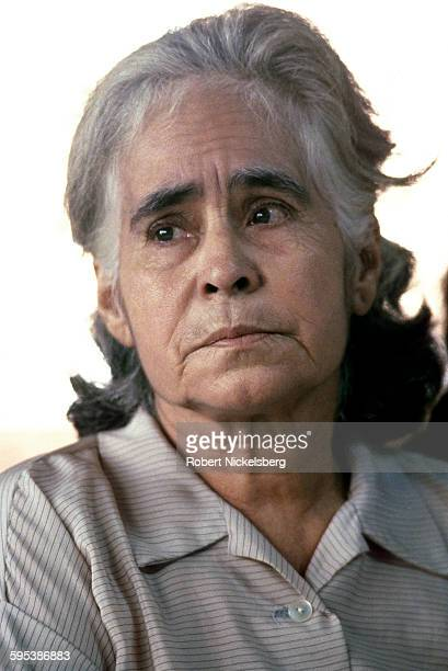 Closeup of an unidentified woman attends a memorial service for four murdered American Catholic nuns and a lay worker La Libertad El Salvador...