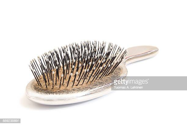 Close-up of an used hairbrush