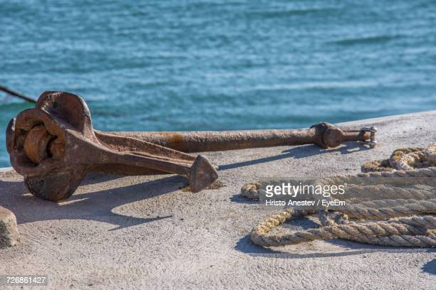 Close-Up Of Anchor And Rope