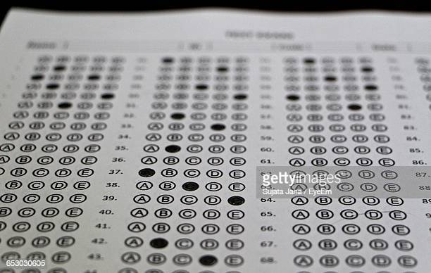 close-up of answer sheet - survey stock photos and pictures