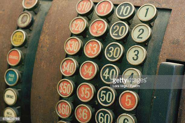 close-up of antique cash register machine - virgil stock photos and pictures