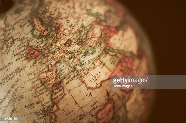 close-up of antique globe - history stock pictures, royalty-free photos & images