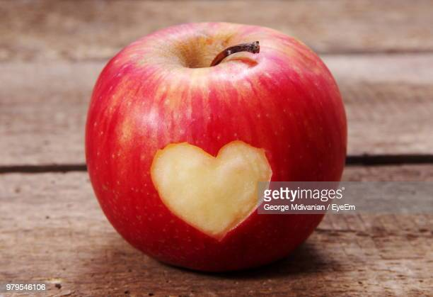 Close-Up Of Apple On Heart