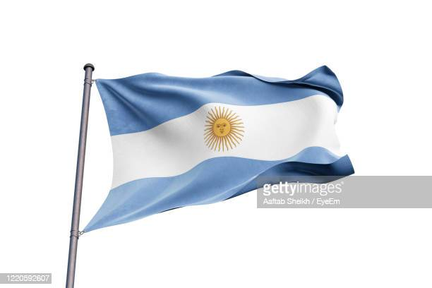 close-up of argentinian flag against clear sky - lateinamerika stock-fotos und bilder