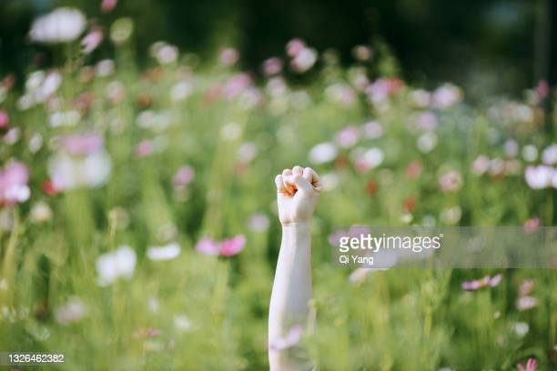 close-up of arms raised in the garden - revolution stock pictures, royalty-free photos & images