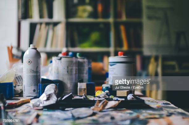 Close-Up Of Art Supplies On Table