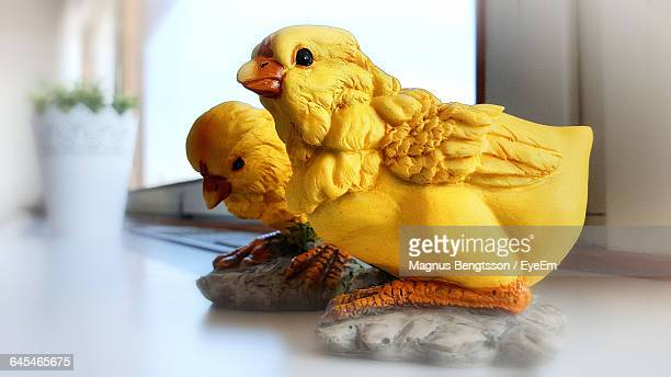Close-Up Of Artificial Chicken Decoration At Home During Easter