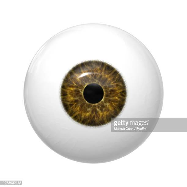 Close-Up Of Artificial Eyeball Over White Background