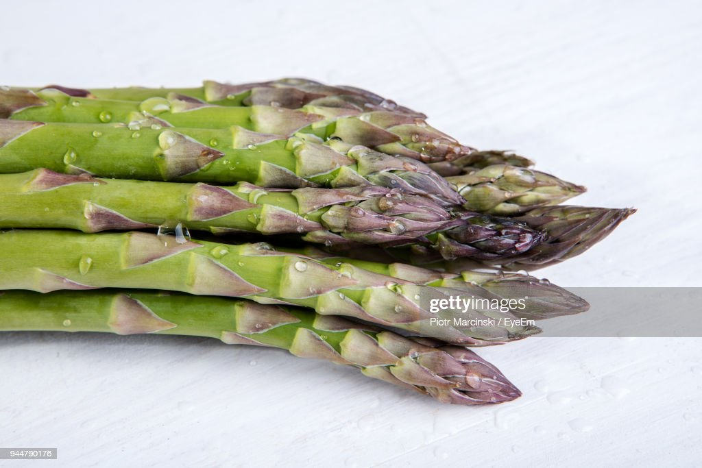 Close-Up Of Asparagus On Table : Stock Photo