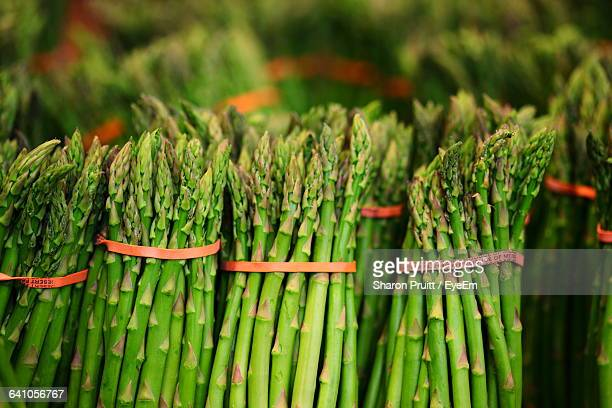 Close-Up Of Asparaguses For Sale At Market Stall