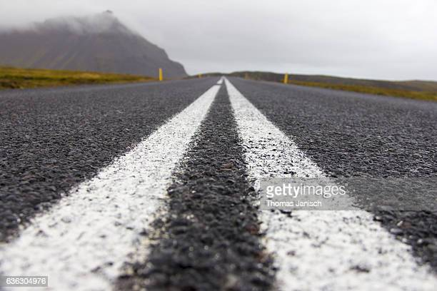Close-up of asphalt road, Snaefellsnes peninsula, Iceland
