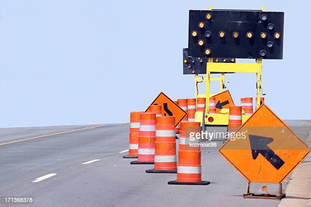 close-up of assorted traffic control equipment and tools - traffic cone stock pictures, royalty-free photos & images