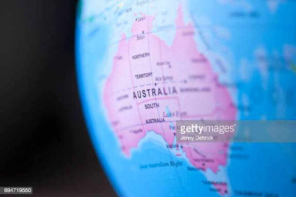 close-up of australia on globe - physical geography stock pictures, royalty-free photos & images
