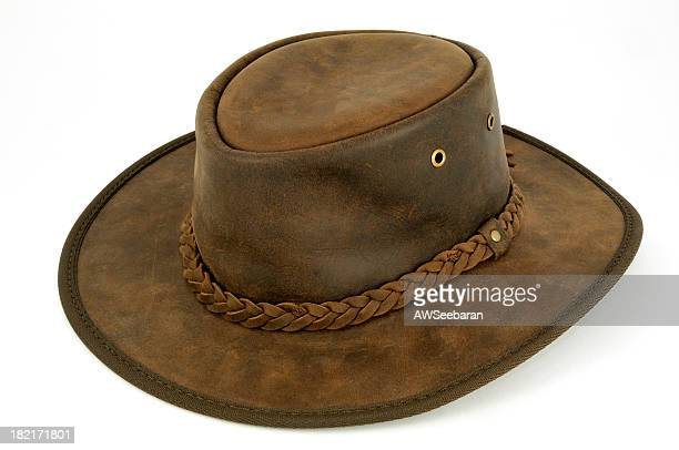 Closeup of Australian bush hat isolated on white background
