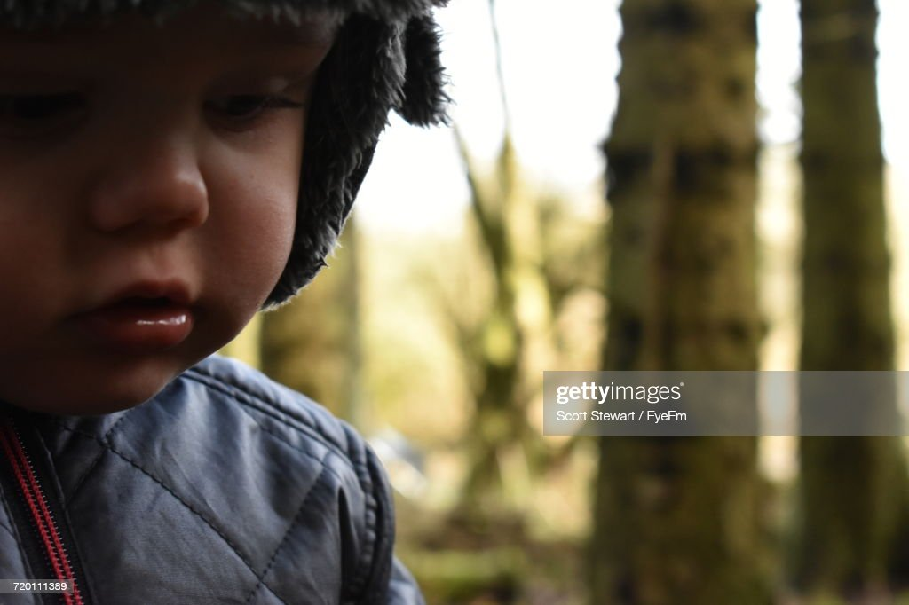 Close-Up Of Baby Boy Wearing Warm Clothing : Stock Photo