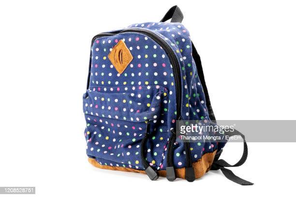 close-up of backpack against white background - backpack stock pictures, royalty-free photos & images