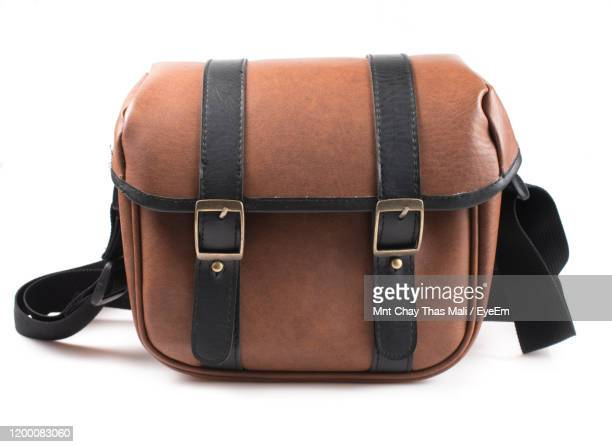 close-up of bag against white background - strap stock pictures, royalty-free photos & images