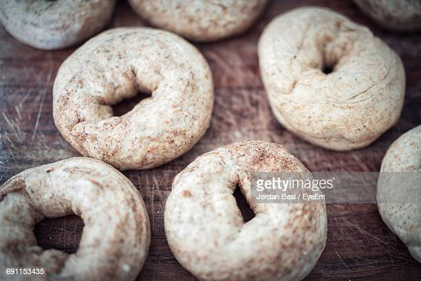 Close-Up Of Bagel Dough On Table