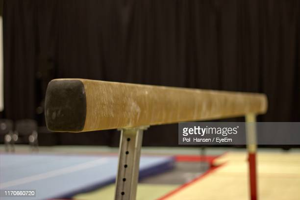 close-up of balance beam in gym - balance beam stock pictures, royalty-free photos & images