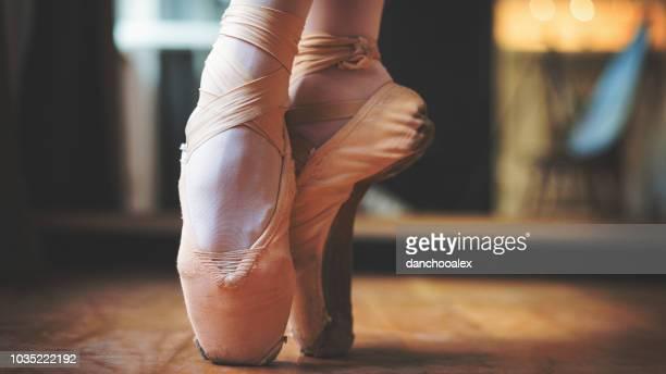 closeup of balerina feet - ballerina feet stock photos and pictures