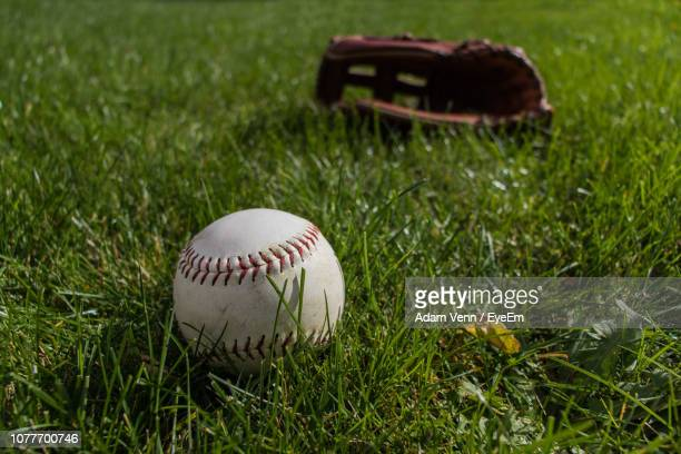 close-up of ball and baseball glove on field - キャッチャーミット ストックフォトと画像
