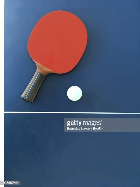Close-Up Of Ball And Racket On Table Tennis