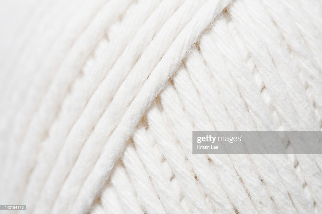 Close-up of ball of white yarn : Stock Photo